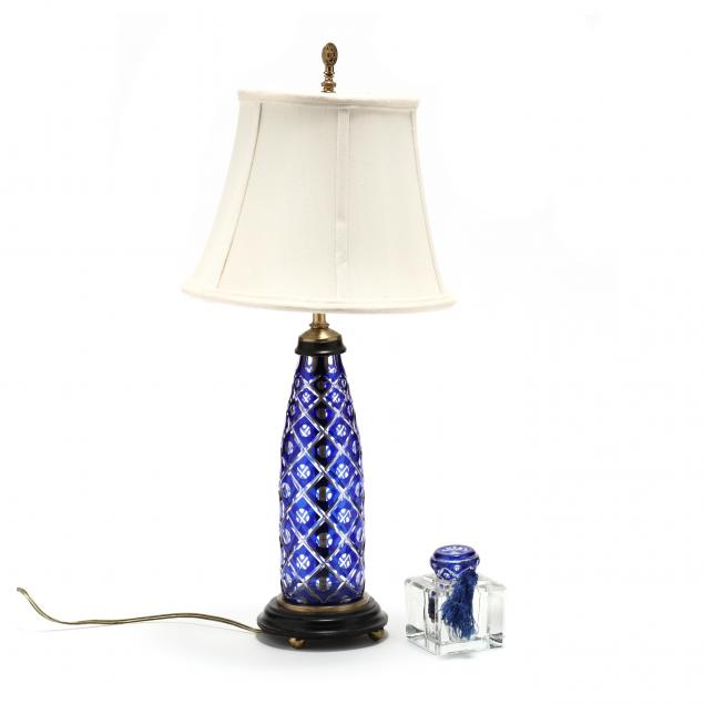 antique-cobalt-cut-to-clear-table-lamp