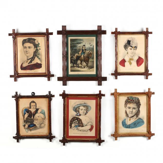 six-currier-ives-portrait-prints-in-antique-framing