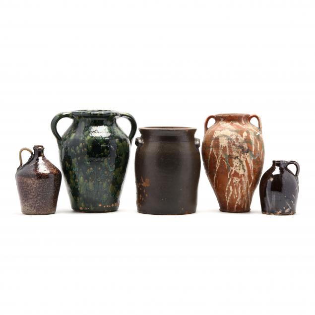 nc-pottery-grouping-of-five