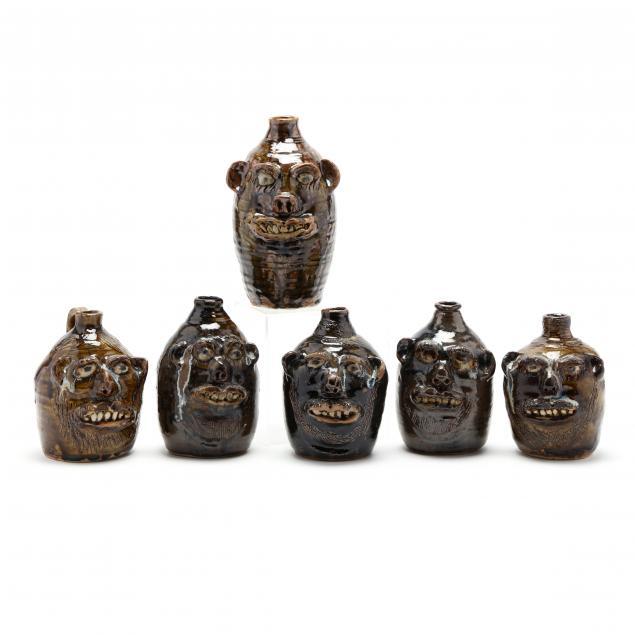 georgia-folk-pottery-six-marie-rogers-face-jugs