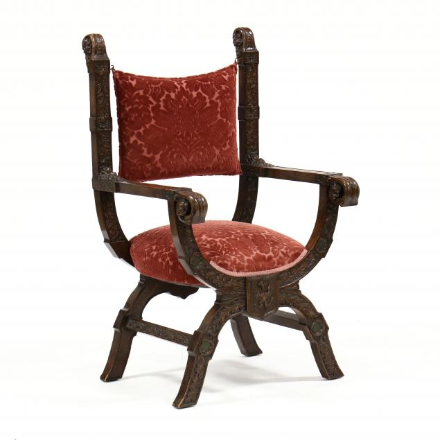 gothic-style-carved-oak-curule-chair