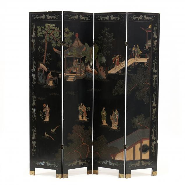 vintage-chinese-carved-lacquer-four-panel-floor-screen