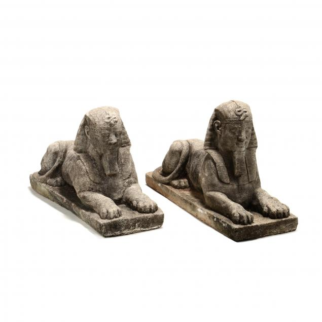 pair-of-vintage-cast-stone-sphinxes