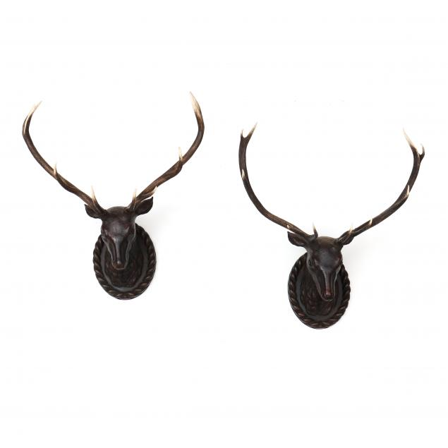 pair-of-decorative-stag-head-wall-mounts