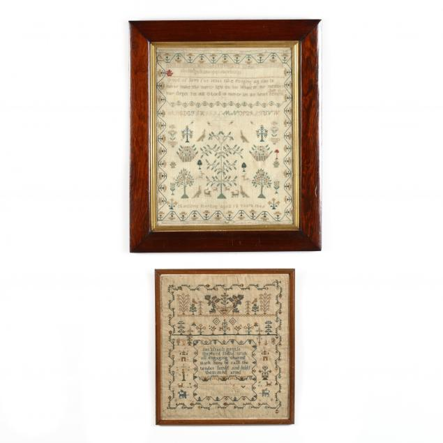two-framed-antique-needlework-samplers-english