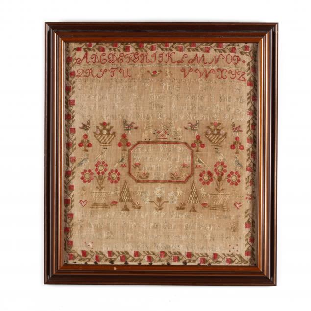 antique-framed-needlework-sampler-english