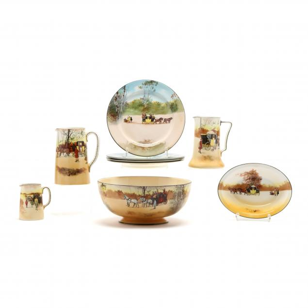 a-group-of-nine-royal-doulton-coaching-days-tableware