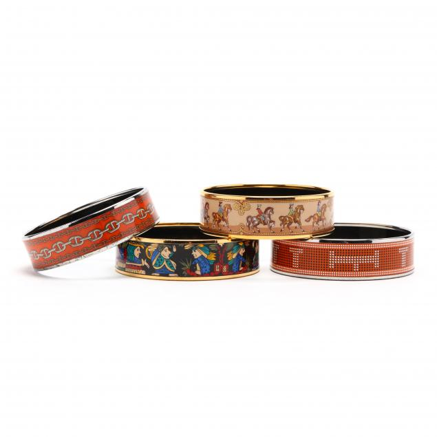 a-group-of-four-enamel-bangle-bracelets-hermes