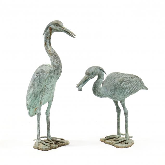 pair-of-cast-iron-life-size-heron-sculptures