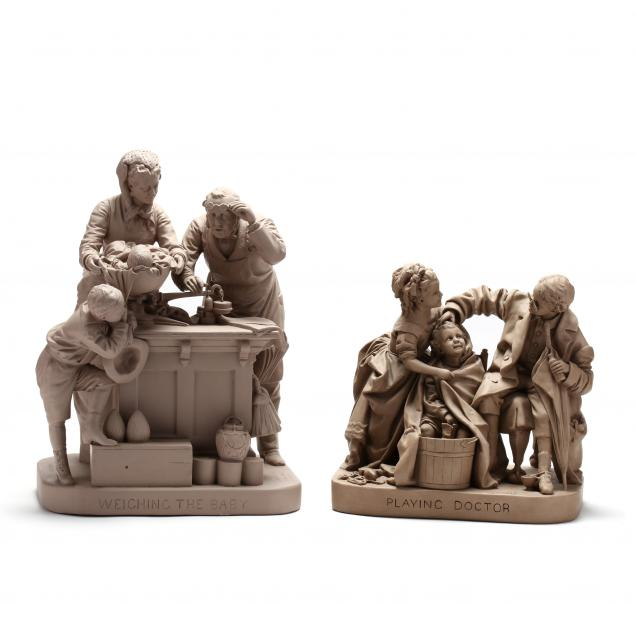 john-rogers-two-figural-compositions-weighing-the-baby-playing-doctor