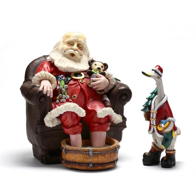 two-christmas-figures-an-apsit-brothers-of-california-santa-and-duck