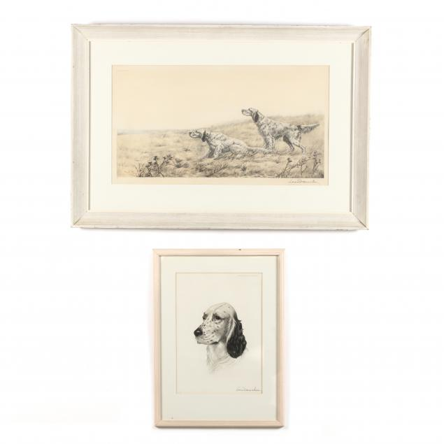 leon-danchin-french-1887-1939-two-prints-with-setters
