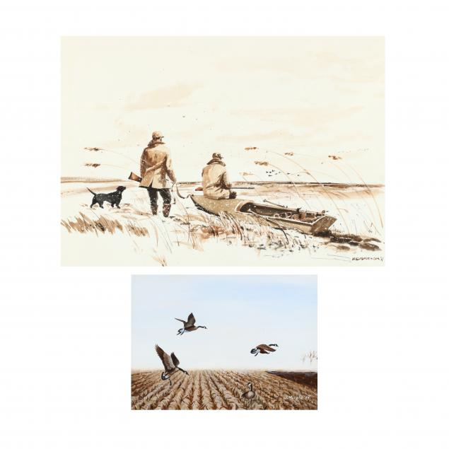 two-20th-century-waterfowl-related-works-on-paper