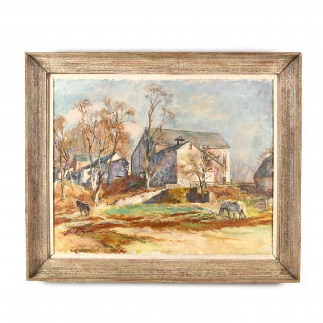 sarah-blakeslee-nc-1912-2005-farm-scene-with-grazing-horses