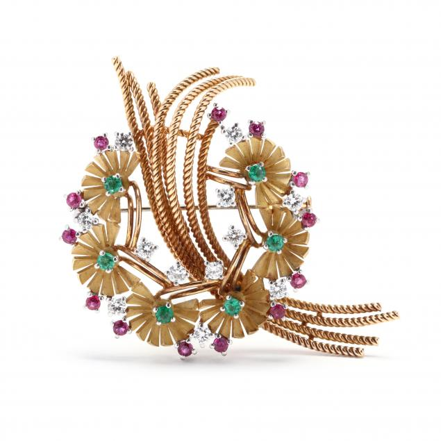 18kt-gold-diamond-and-gem-set-brooch