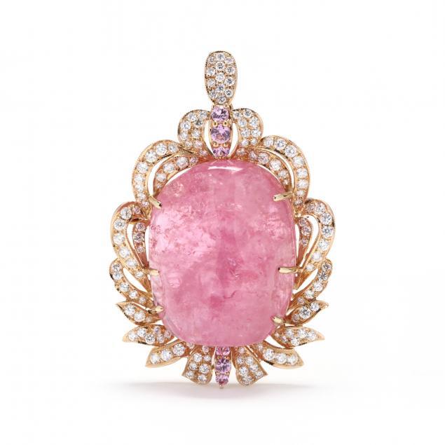 18kt-gold-pink-tourmaline-and-diamond-pendant-brooch
