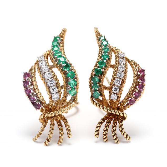 gold-diamond-and-gem-set-earrings