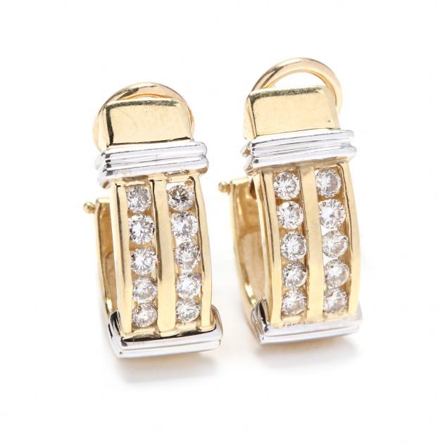 14kt-bi-color-gold-and-diamond-hoop-earrings-signed