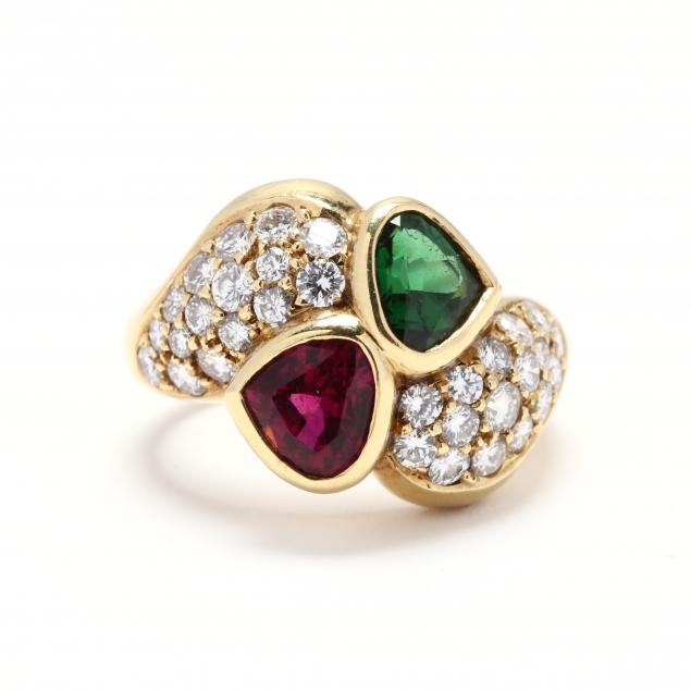 18kt-gold-two-stone-tourmaline-and-diamond-ring