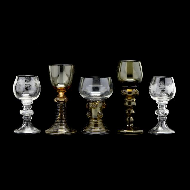 five-antique-german-roemer-glasses