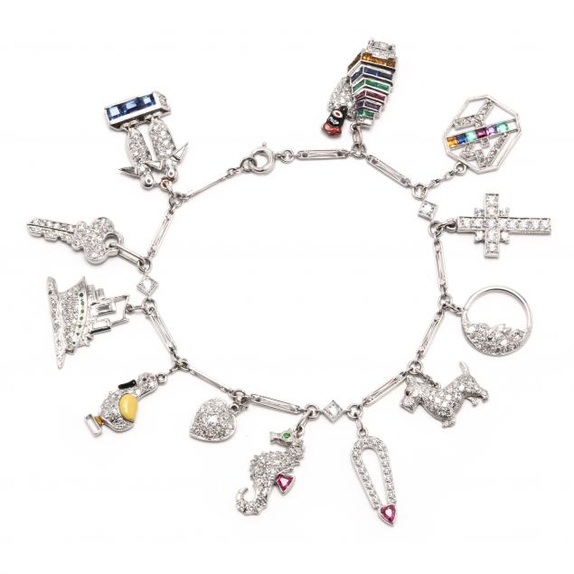 art-deco-platinum-and-diamond-charm-bracelet
