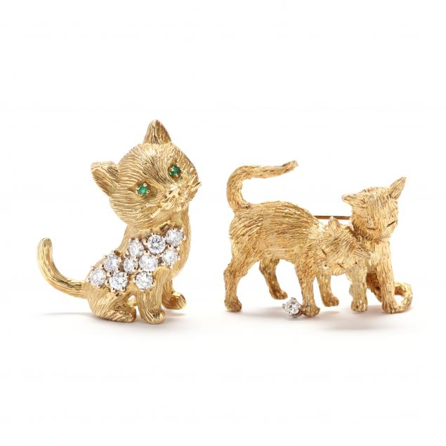 two-gold-and-diamond-cat-brooches