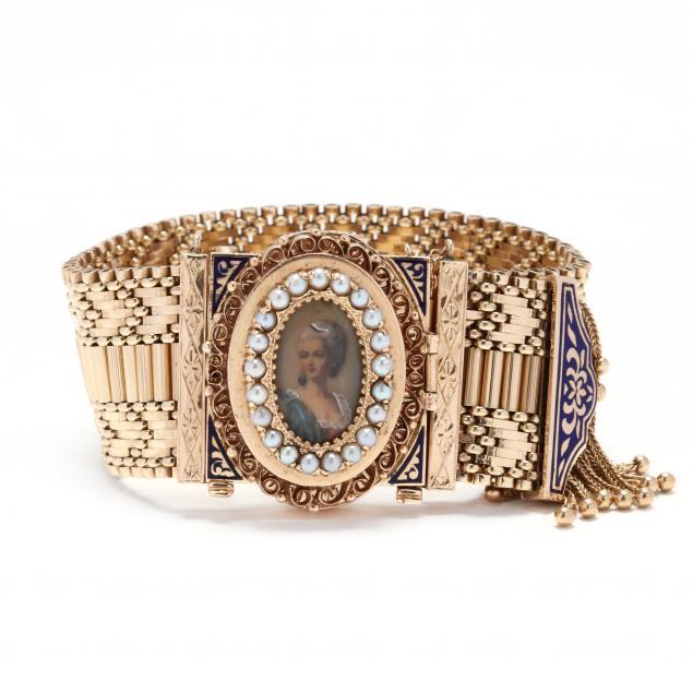 vintage-14kt-gold-convertible-bracelet-pendant-brooch-watch-with-portrait-miniature