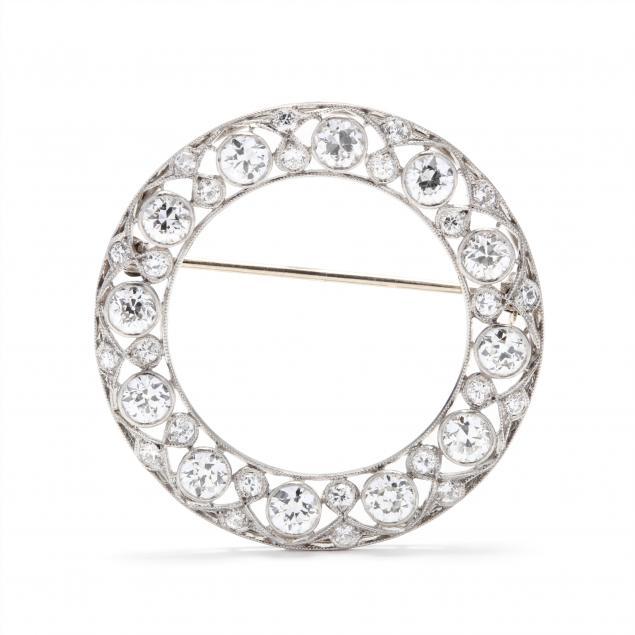 art-deco-platinum-and-diamond-circle-brooch
