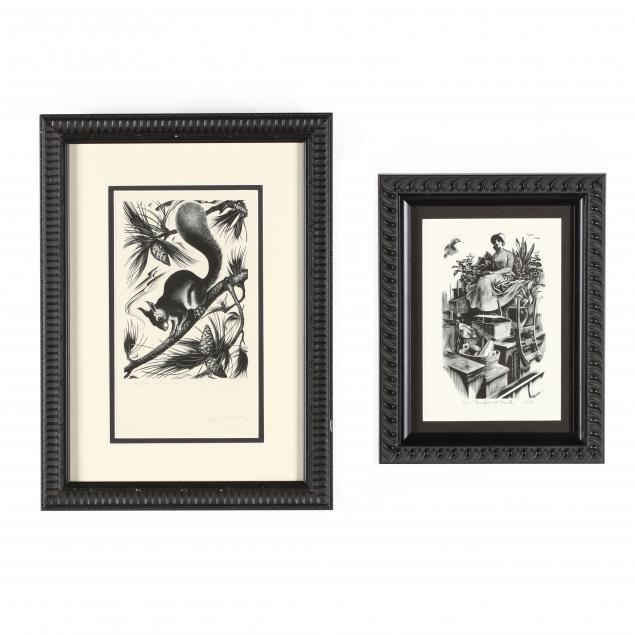 agnes-miller-parker-british-1895-1918-two-woodblock-prints
