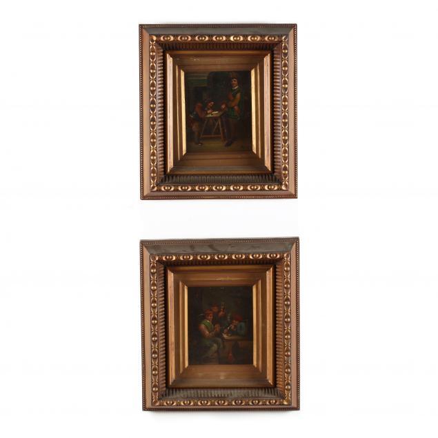 a-pair-of-dutch-school-interior-genre-scenes-19th-century