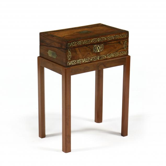 antique-inlaid-rosewood-document-box-on-stand