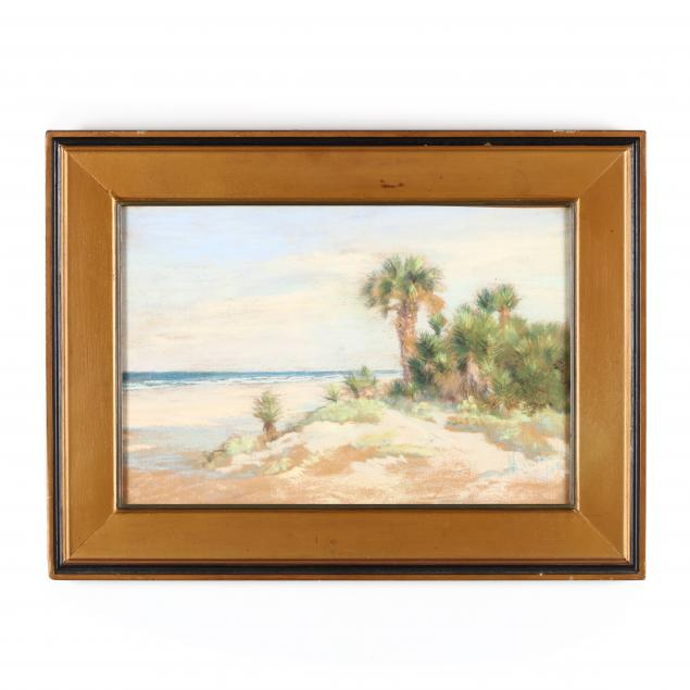 an-antique-pastel-painting-of-a-beach-by-clarke