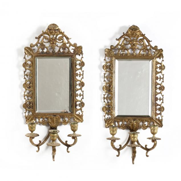 pair-of-antique-mirrored-brass-sconces