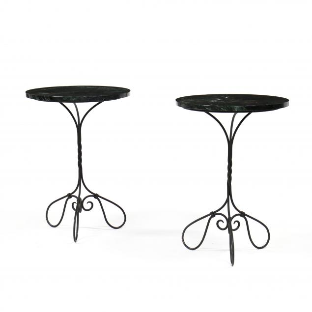 pair-of-vintage-iron-marble-top-tables