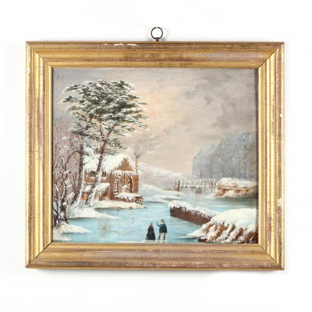 american-school-folk-art-painting-of-a-grist-mill-in-snow