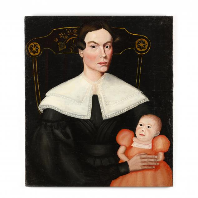 american-school-folk-art-painting-of-a-mother-child