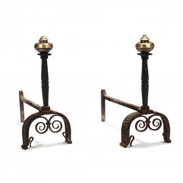 pair-of-antique-wrought-iron-and-brass-andirons