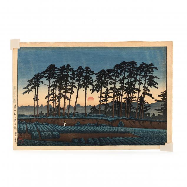 hasui-kawase-japanese-1883-1957-i-sunset-at-ichinokura-ikegami-i