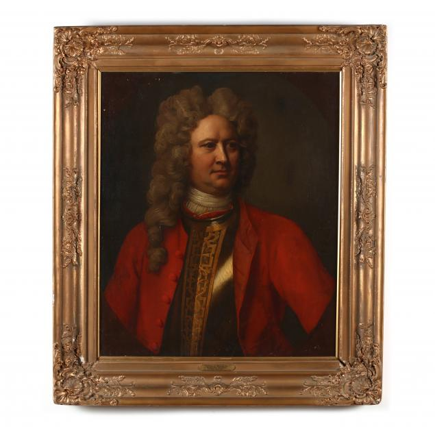 english-school-18th-century-portrait-of-a-man-in-armour-breast-plate-and-red-jacket