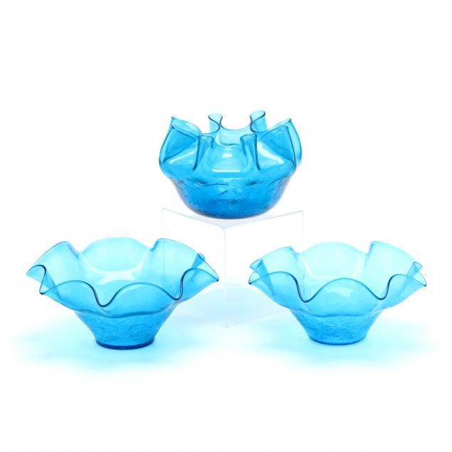 blenko-three-blue-crackle-glass-center-bowls