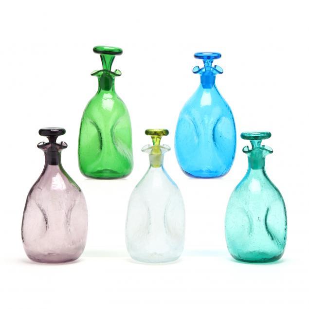 blenko-five-pinch-bottle-crackle-glass-decanters