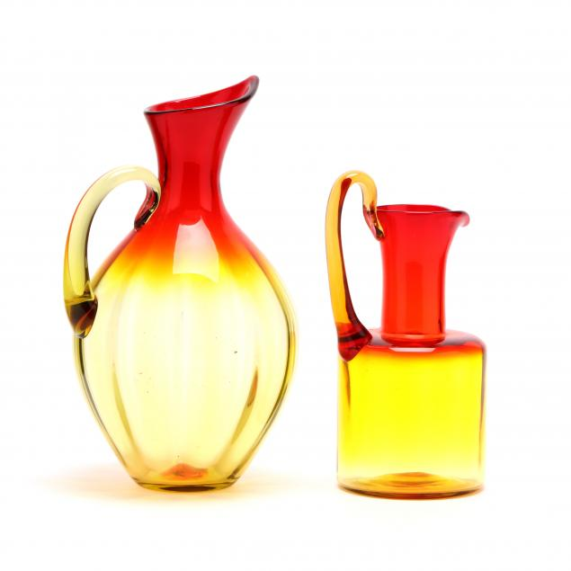 blenko-two-amberina-optic-glass-pitchers