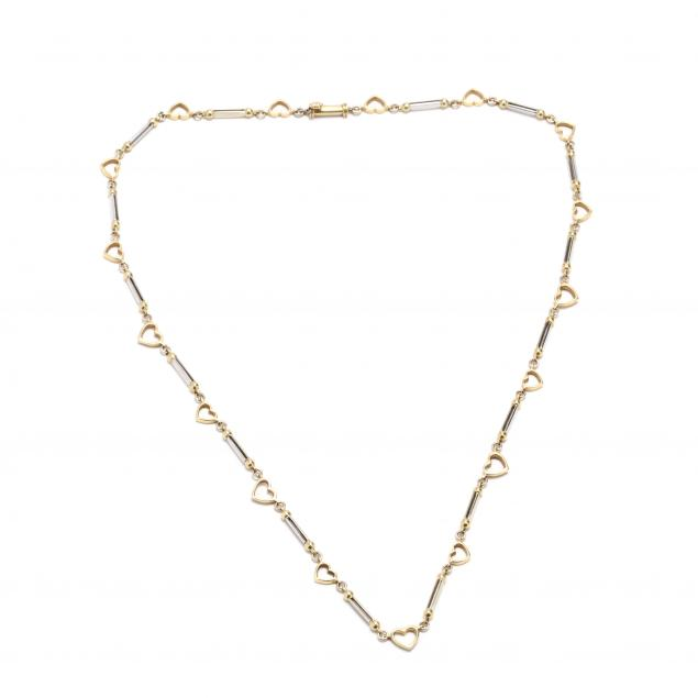 18kt-bi-color-gold-heart-chain-necklace-italy