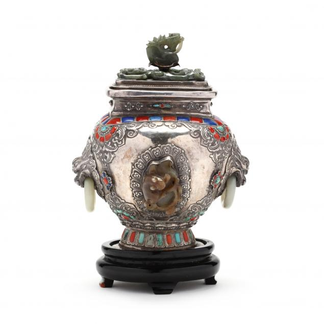 a-chinese-mongolian-silver-and-jade-inlaid-jar-with-cover