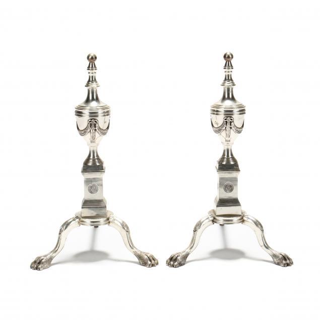 pair-of-silvered-metal-andirons