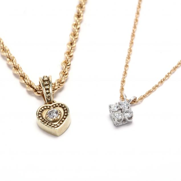 two-14kt-gold-and-diamond-pendant-necklaces