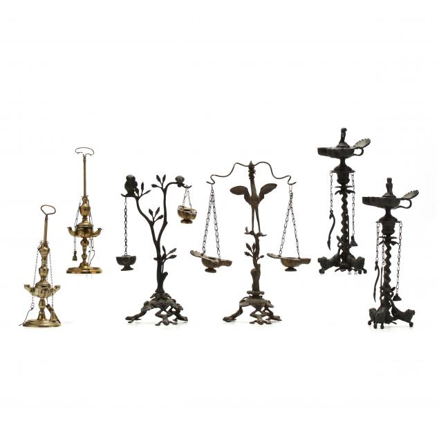 six-tall-brass-oil-lamps-based-on-ancient-prototypes