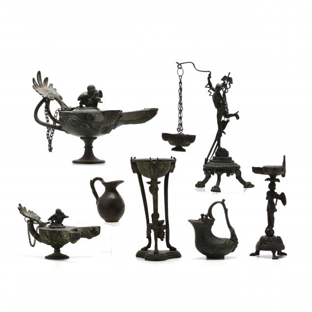 seven-roman-style-bronze-lamps-and-vessels