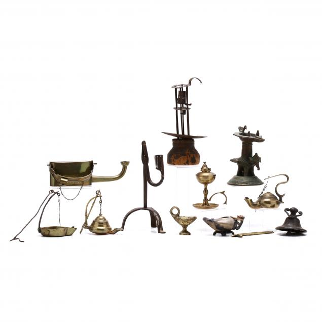 group-of-lighting-devices-in-brass-iron-and-stone