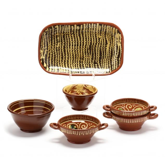 contemporary-slip-decorated-redware-pottery-six-pieces